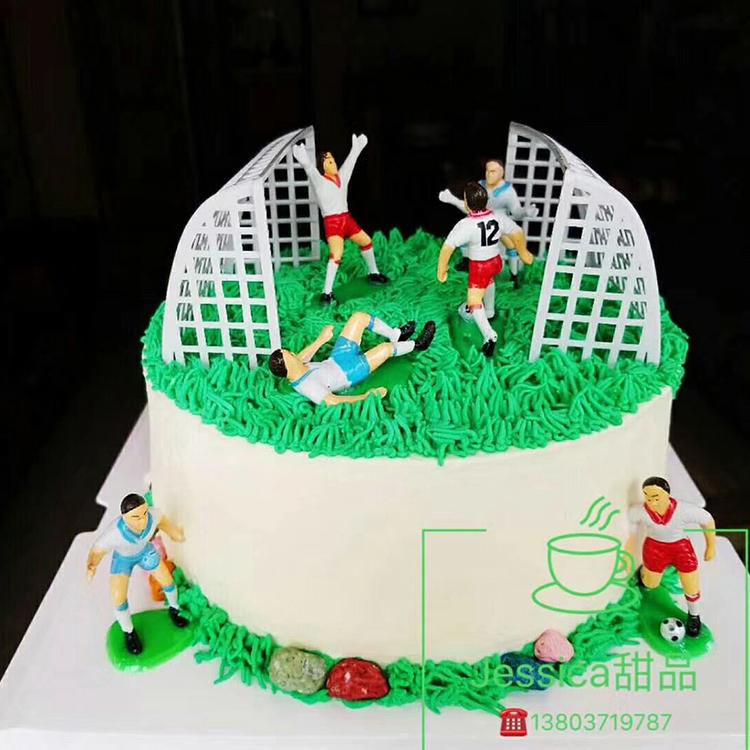 足球蛋糕装饰足球场摆件足球小子体育场景儿童生日蛋糕男孩甜品台图片