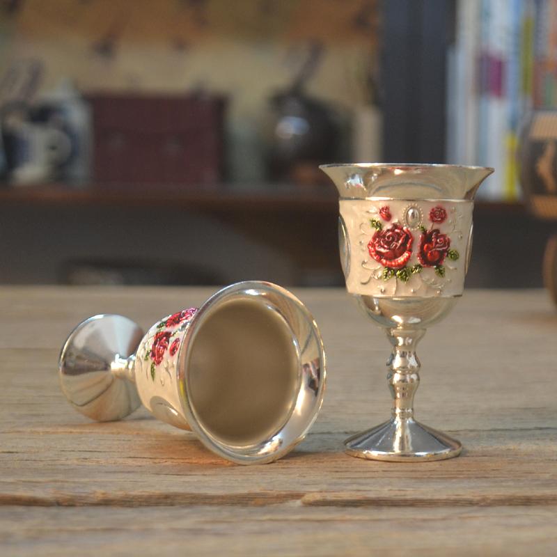 欧式精美白酒杯金属高脚杯玫瑰花烈酒杯小酒杯家居酒店用品单个装