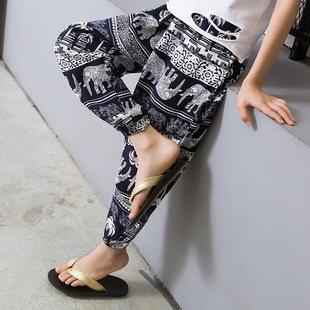 夏季儿童防蚊裤棉绸男童宝宝灯笼裤薄款成人大人女亲子装沙滩裤子