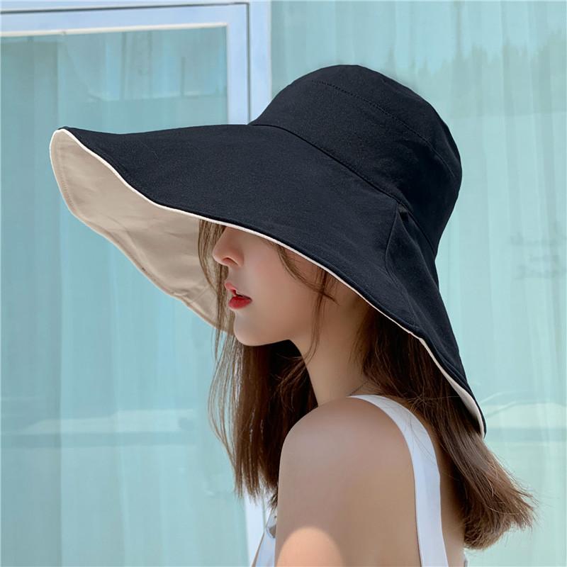 双面日本防晒渔夫帽女夏天日系韩版超大帽檐出游遮脸遮阳帽网红帽
