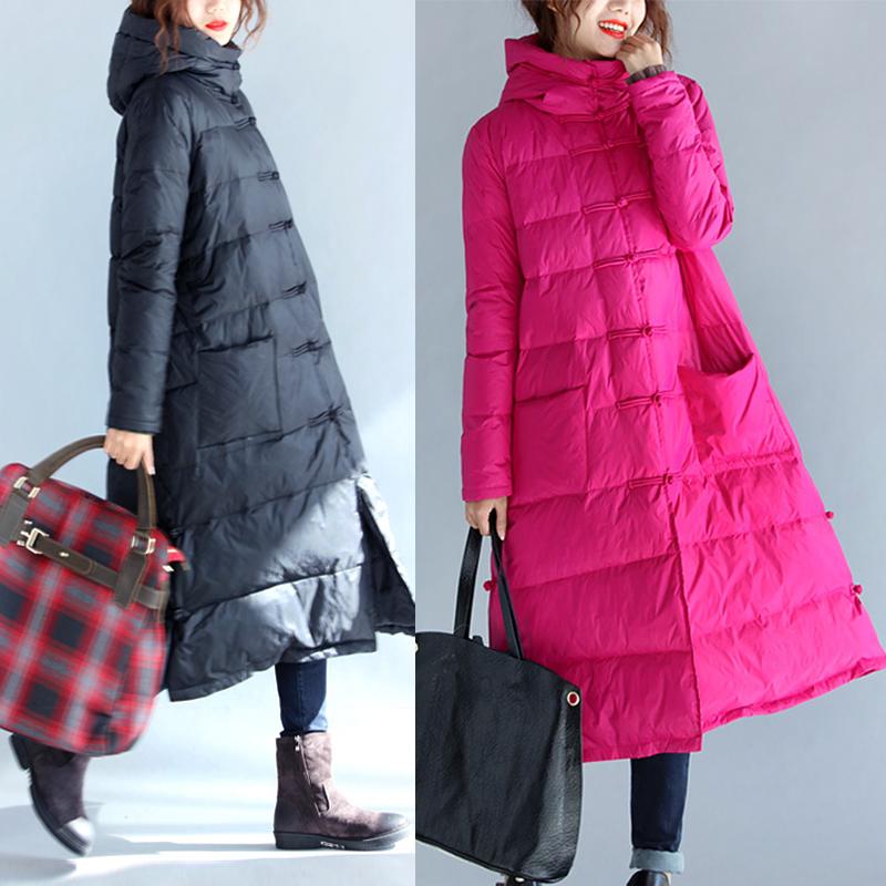2017冬装新款韩版复古加厚宽松连帽羽绒服女士中长款过膝棉服外套
