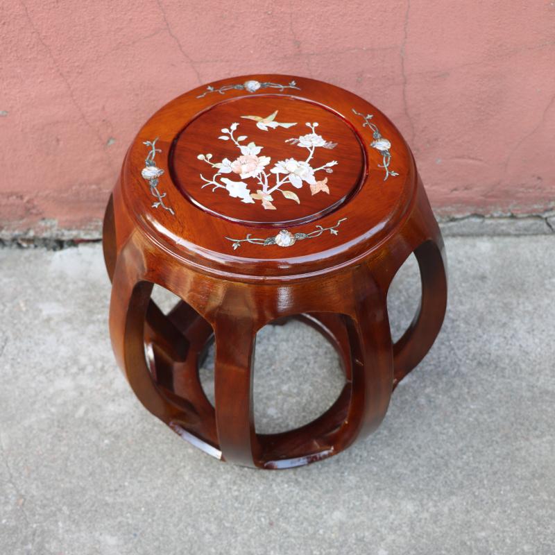 中式仿古实木鼓凳红木圆凳古筝凳子鼓墩绣墩坐凳花梨木鼓凳矮凳