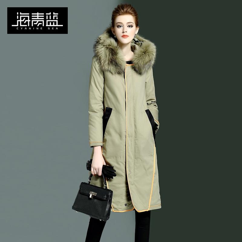 青蓝 冬装 新款 女装 羽绒服 可拆卸 毛领 保暖 上衣 外套