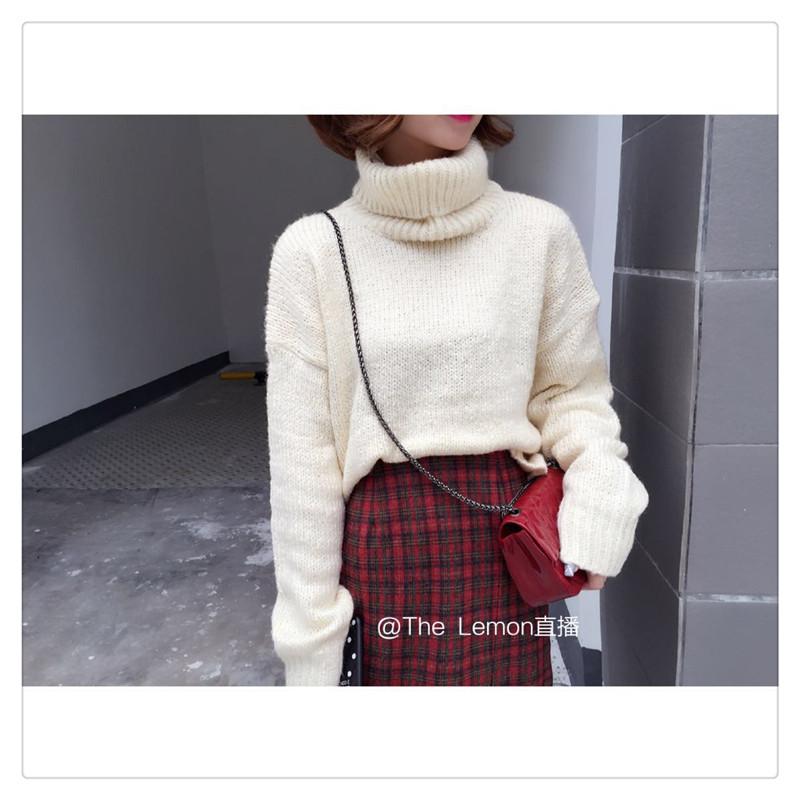 TheLemon柠檬绿茶秋冬新款高领套头宽松毛衣纯色时尚百搭针织衫女