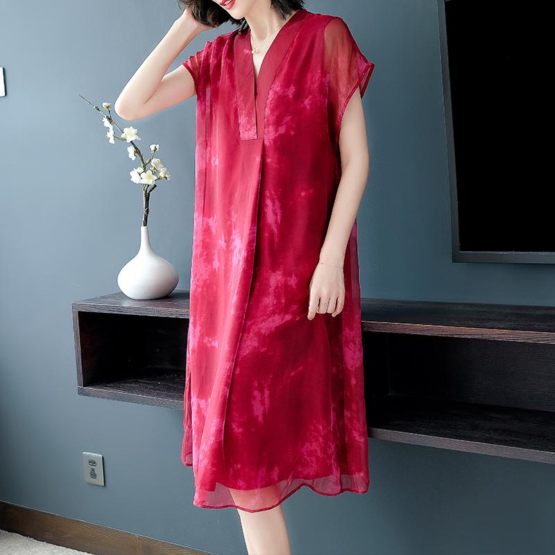 实拍 衣服洋气阔太太连衣裙短袖中年女连衣裙适合妈妈穿的裙子-e时尚网络服饰-