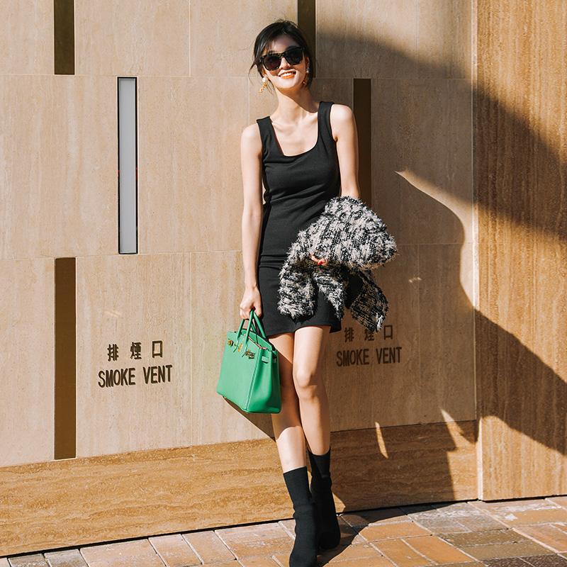 minscouture百搭基础款修身显瘦圆领无袖打底背心连衣裙 四色可选