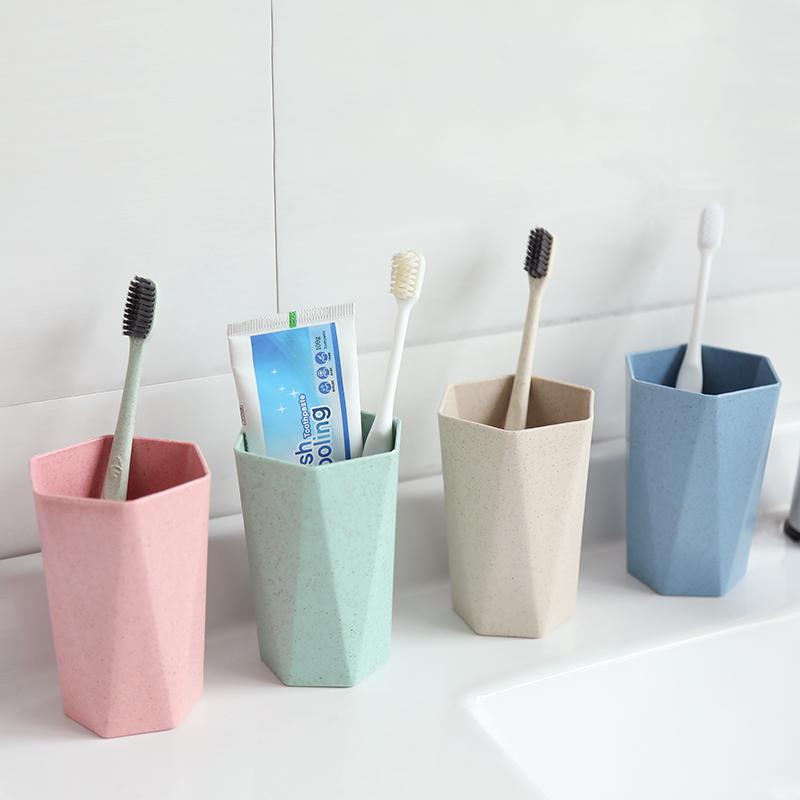 几何菱形小麦秆洗漱杯家用浴室简约菱形刷牙杯子情侣涑口杯牙具杯1元无条件券