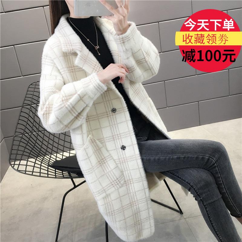 格子水貂绒大衣女秋冬新款大码中长款毛衣开衫气质西装领毛呢外套