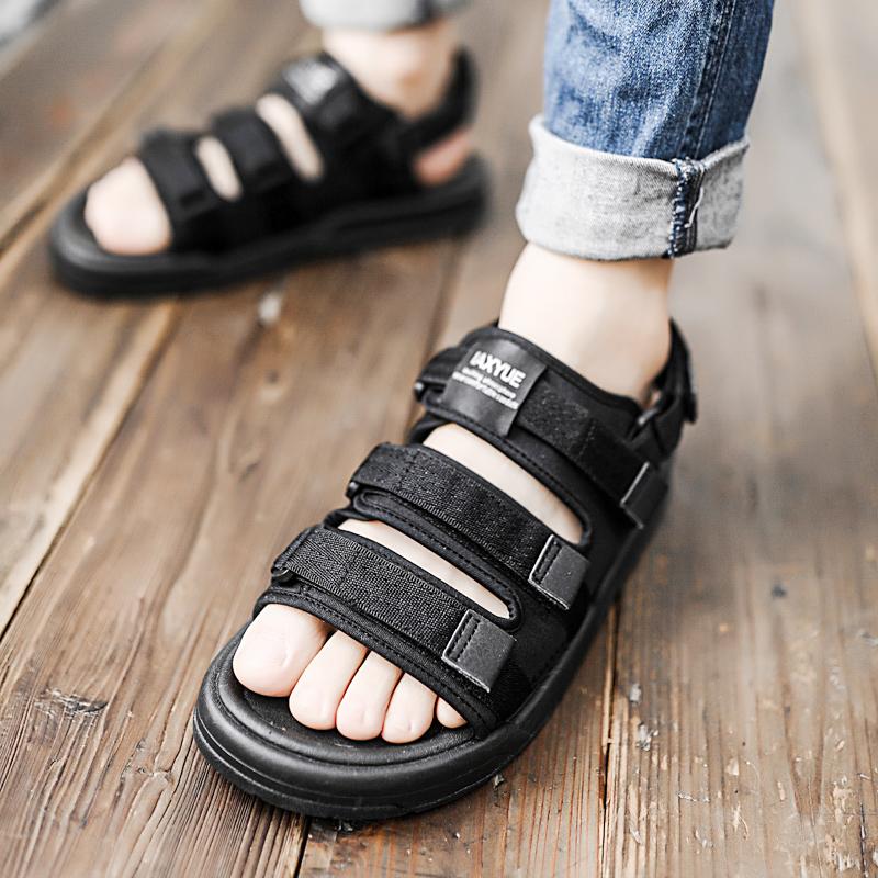ins潮厚底运动凉鞋男韩版两用凉拖鞋外穿越南沙滩鞋纯色百搭休闲
