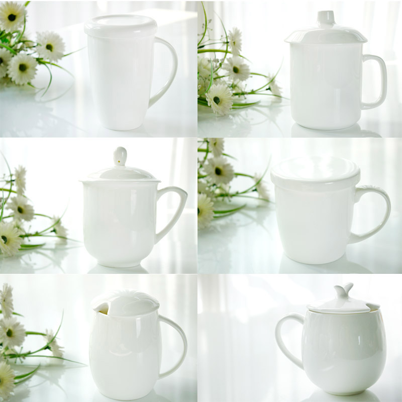唐山骨瓷纯白创意情侣马克杯茶杯杯子陶瓷水杯盖杯瓷杯4个包邮