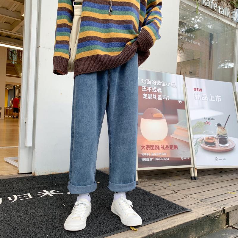 情侣高街宽松阔腿复古水洗男士牛仔裤春秋韩版个性休闲直筒裤长裤