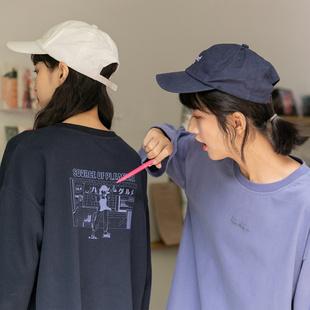 尔给长袖t恤女宽松韩版盐系日系上衣2020酷酷风格女装小个子学生图片