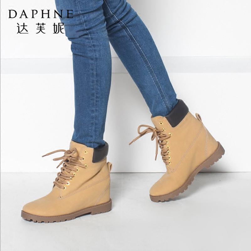 达芙妮女鞋 冬季内增高方跟短靴 大头鞋马丁靴休闲靴子系带短筒靴