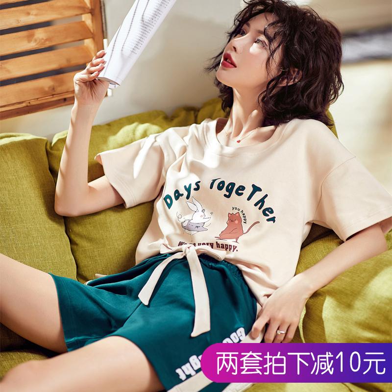 短袖睡衣女夏季纯棉韩版清新学生薄款半袖短裤夏天家居服两件套装