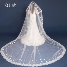 New brides wedding veil lace dream lace single wedding accessories super long tailed wedding veil