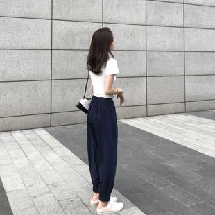 胖妹妹大码萝卜裤2021新款女装春装高腰阔腿直筒女裤子宽松显瘦潮