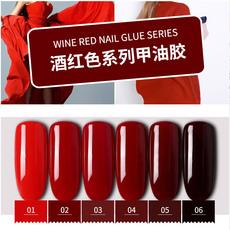 美甲正品酒红色指甲油胶大红色深红色植物环保可卸芭比胶持久显白