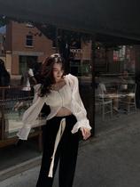 大于诗集方领褶皱雪纺长袖薄款衬衫女泡泡袖拉链短款防晒上衣夏季