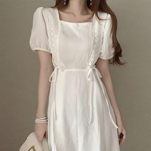 韩国chic夏季甜美减龄方领减龄褶皱花边拼接中长款系带短袖连衣裙图片