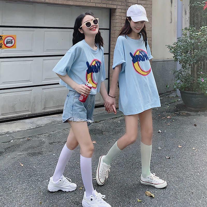 夏季韩版2019中长新款款宽松百搭印花闺蜜装姐妹装学生短袖T恤女