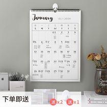 创意简约2021年日历计划表家用挂历挂墙大号格子记事本台历送挂钩