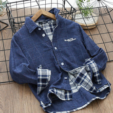 男童牛仔衬衣秋装儿童tu7衣中大童td长袖衬衫新款童装