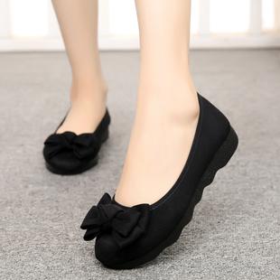老北京布鞋女新款时尚厚底平底豆豆单鞋上班软底黑色工作鞋不累脚图片