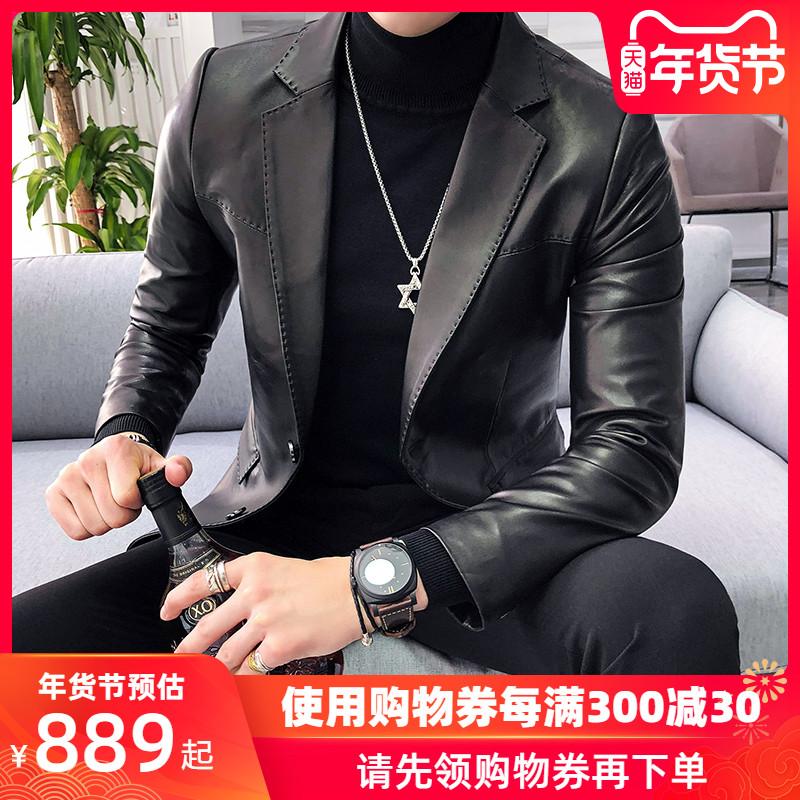 2019新款真皮皮衣羽绒服男士修身海宁皮西装休闲夹克西服韩版外套