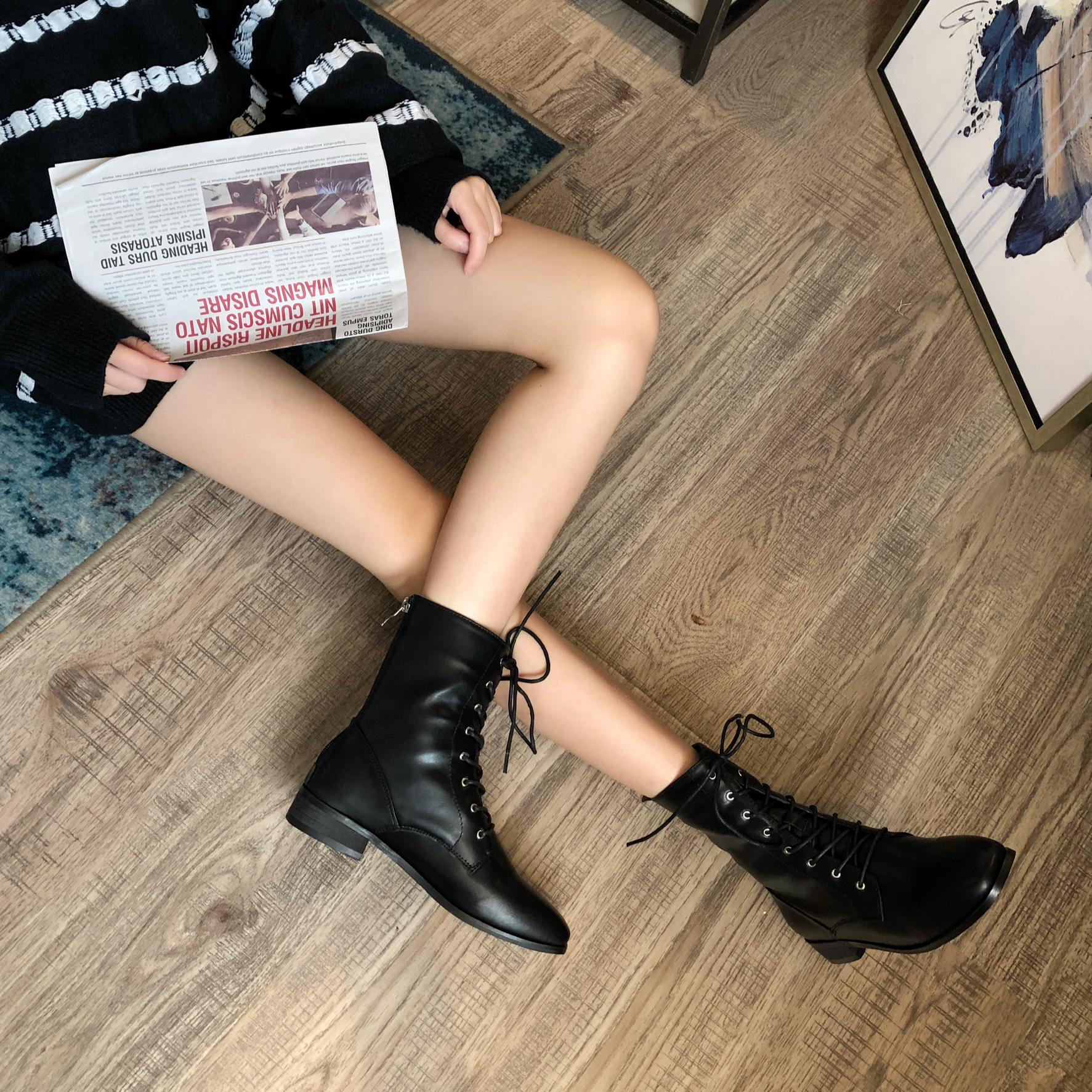 冬季新款百搭时尚系带马丁中靴英伦风平底靴-铭城鞋业--
