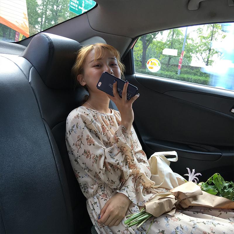 韩系小清新碎花裙连衣裙2017气质甜美蝴蝶结系带长袖中长裙女裙