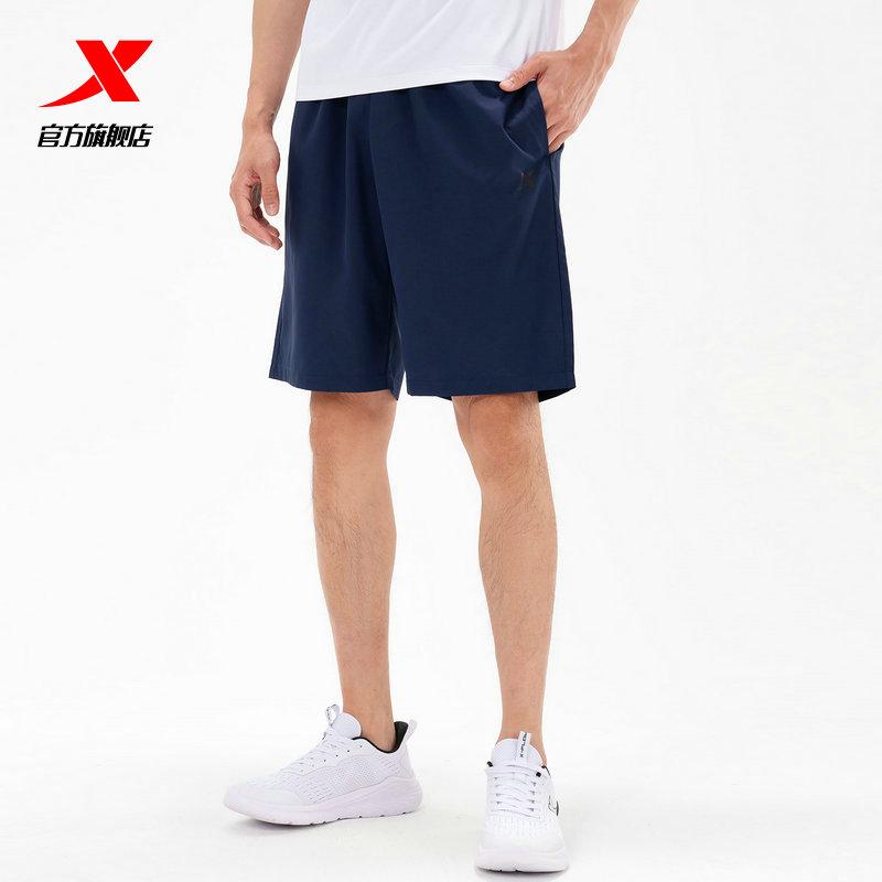 特步运动短裤男2021春夏轻薄透气五分裤宽松中裤梭织跑步健身短裤