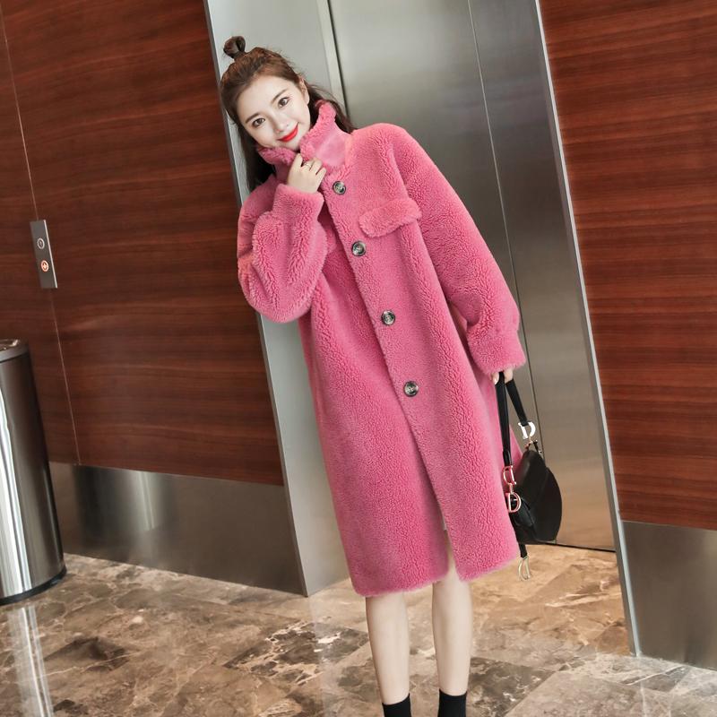 艾玛新款羊剪绒大衣女中长款韩版宽松皮毛一体颗粒羊羔毛皮草外套