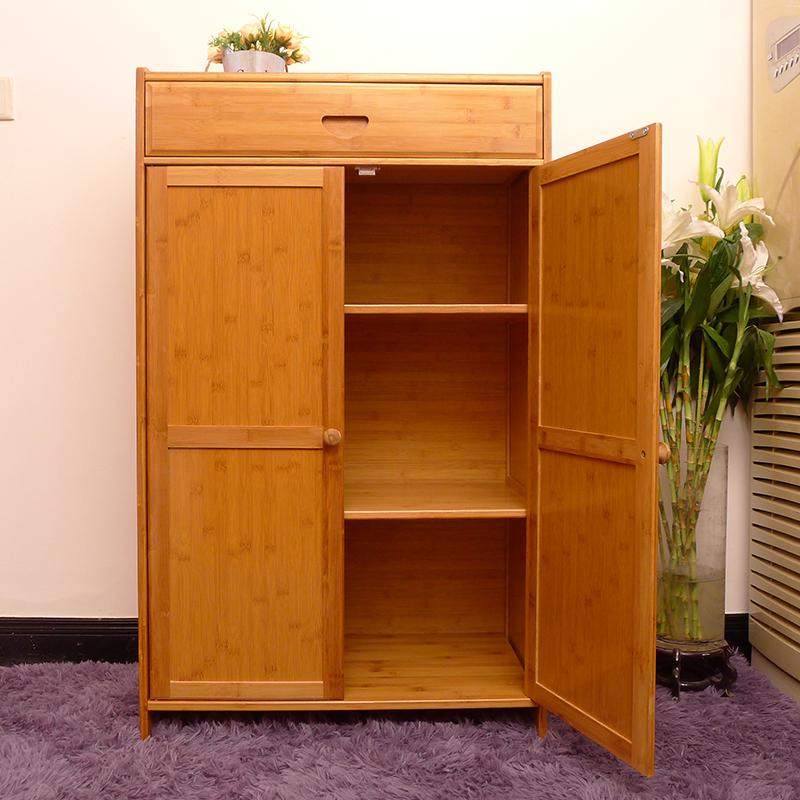 楠竹厨房储物柜收纳柜餐边柜现代简约置物架茶水柜带门带抽屉柜子