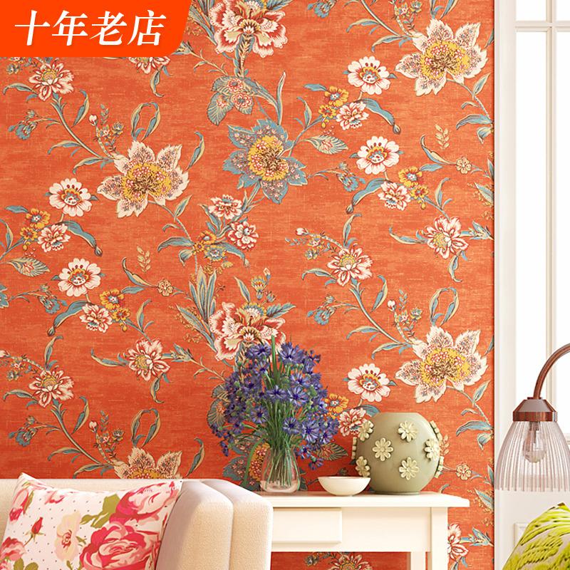 美式乡村复古纯纸壁纸橙色田园大花卧室客厅床头轻奢电视背景墙纸