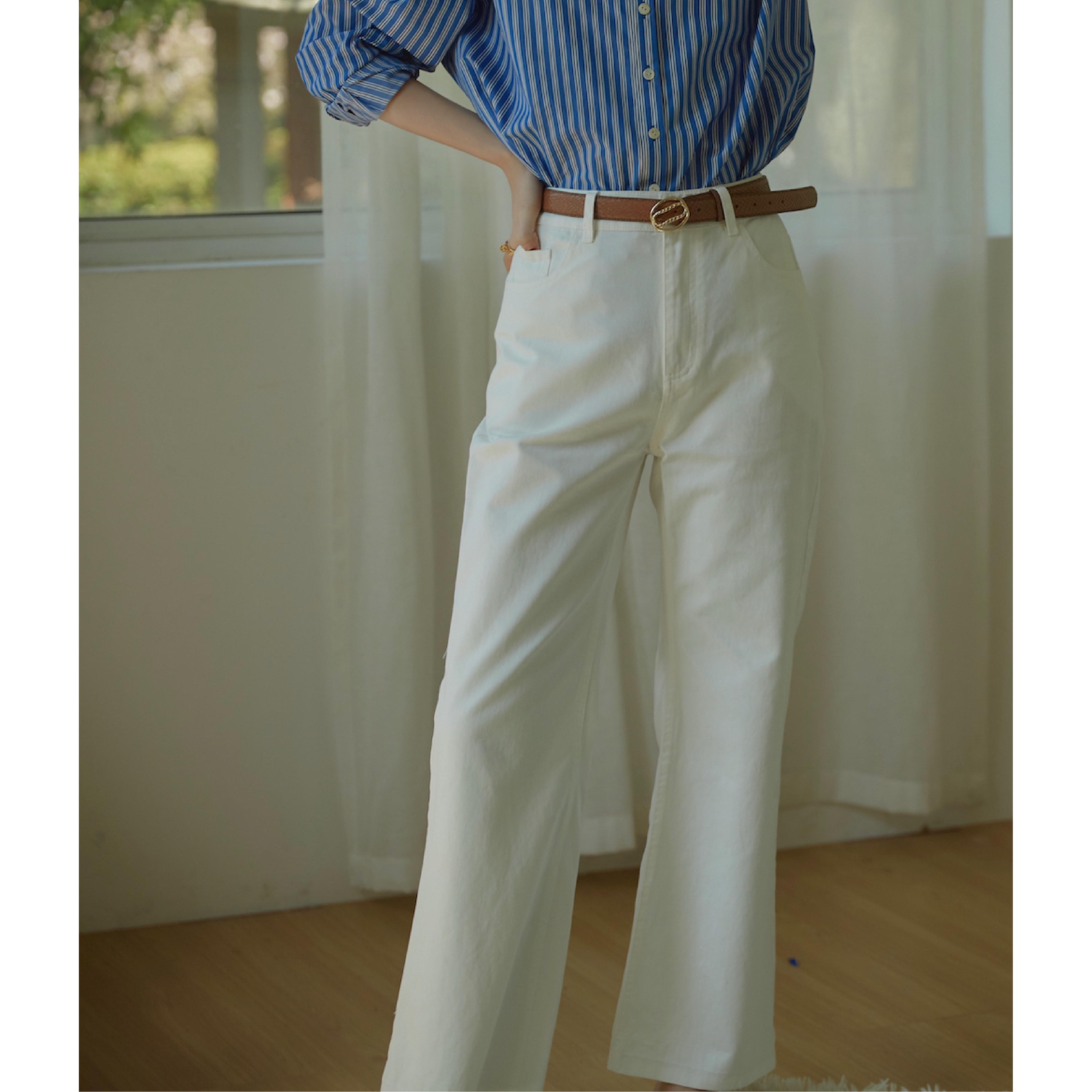 GOJO 法式复古做旧高腰显瘦直筒牛仔裤微喇叭白色休闲裤2020新款