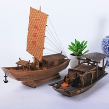 南国渔船模型sh3乡特色手ng木做旧木制摆件工艺品太湖帆船