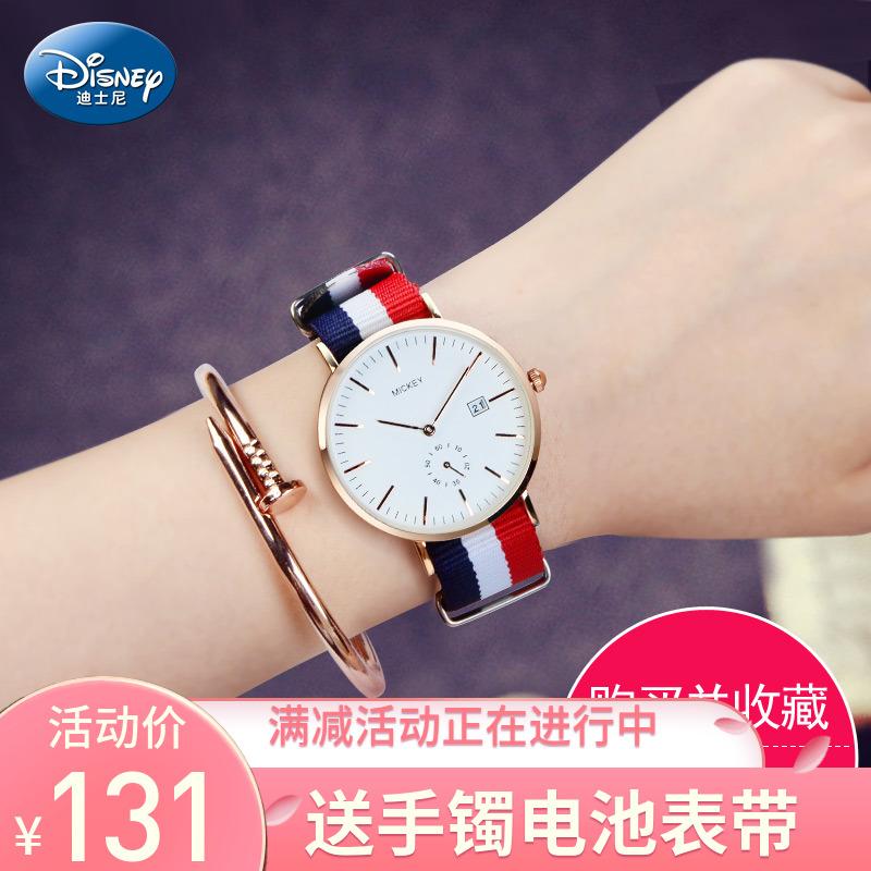 正品迪士尼帆布带手表女学生时尚潮流韩版简约送表带美少女手表