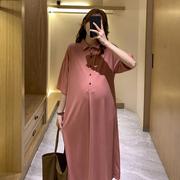 孕妇夏季时尚过膝长款冰丝T恤裙韩版宽松休闲哺乳怀孕潮妈连衣裙