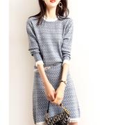 2021春装新款名媛风套装两件套小香气质时尚显瘦针织洋气连衣裙