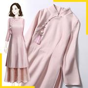 旗袍改良连衣裙年轻款少女中国风冬装唐装女新年聚会演出结婚礼服