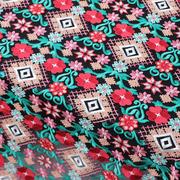 W50中国风民族风十字绣花纹黑色底纱刺绣网纱蕾丝面料布料