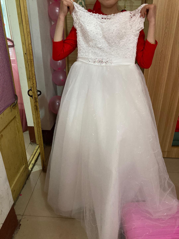 结婚自己买的主婚纱,没地方放了,齐地婚纱,可调松紧,只用了一