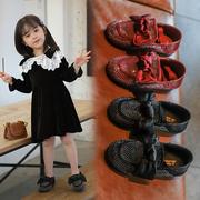 2020新款春季时尚水钻蝴蝶结女童皮鞋纯色防滑中大儿童公主单鞋潮