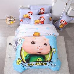 卡通纯棉猪猪侠床上用品四件套床笠儿童床品床单人被套三件套男孩