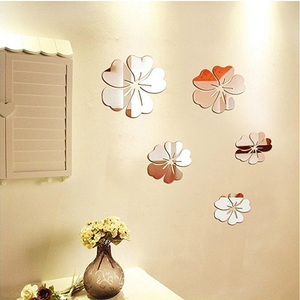 New home butterfly flower wall sticker decal window glass TV background wall living room decorative mirror sticker
