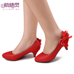 Purple women|s wedding shoes bride and Elf shoes bow low bridal wedding shoes X14922-