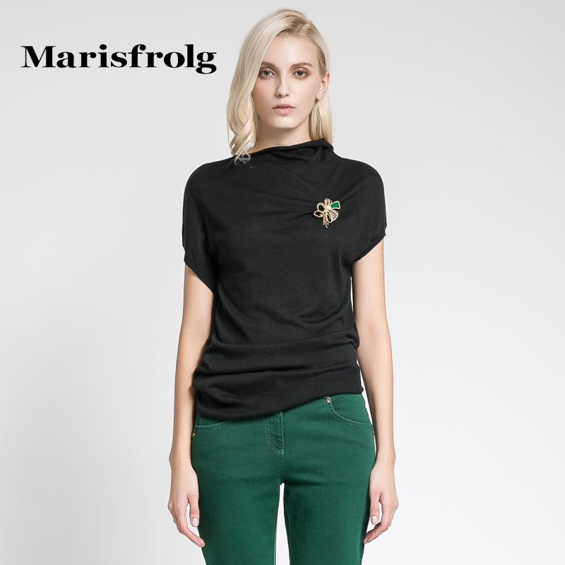 Marisfrolg玛丝菲尔 袖口不对称纯色针织衫 专柜正品秋冬女装
