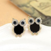 9.9 post Korea lovely Flash diamond owls black earrings fashion jewelry earrings Korean women new