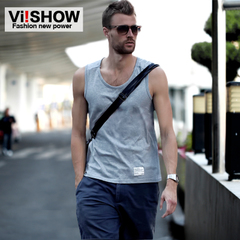 Viishow cotton vest male Xia Kuan City boy vest shoulder movement in Europe and America the trend t sweat vest