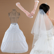 Honey marriage wedding pole skirt wedding dress veil glove accessories package 3